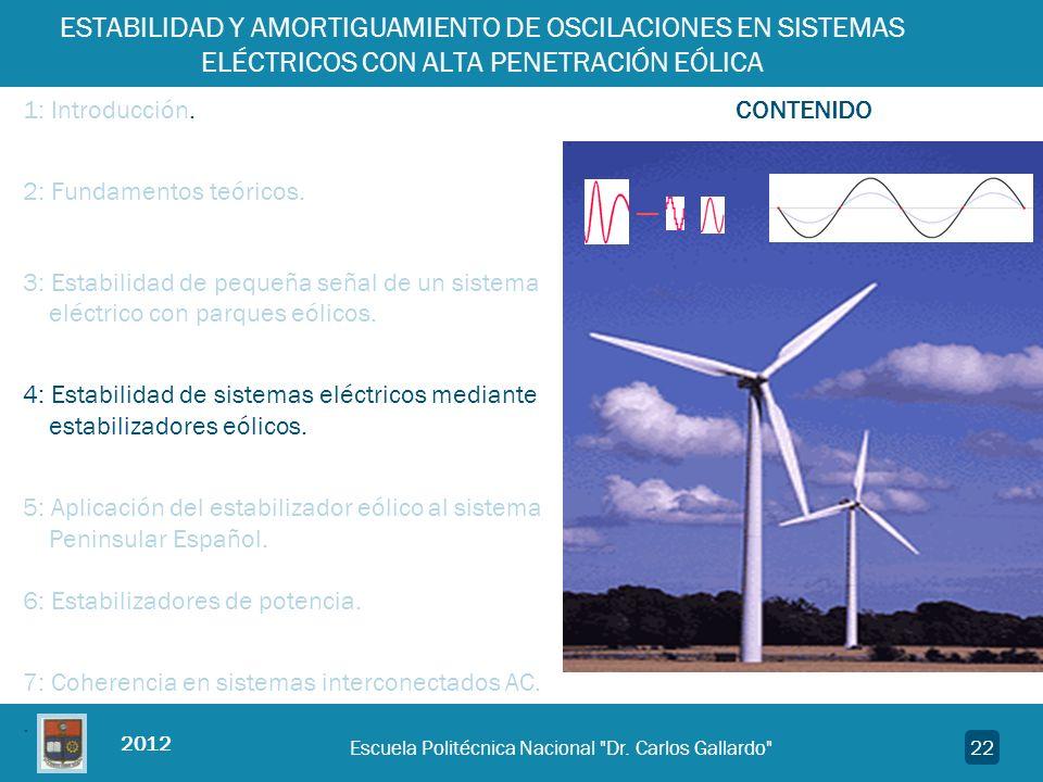 2012 ESTABILIDAD Y AMORTIGUAMIENTO DE OSCILACIONES EN SISTEMAS ELÉCTRICOS CON ALTA PENETRACIÓN EÓLICA 1: Introducción. CONTENIDO 2: Fundamentos teóric