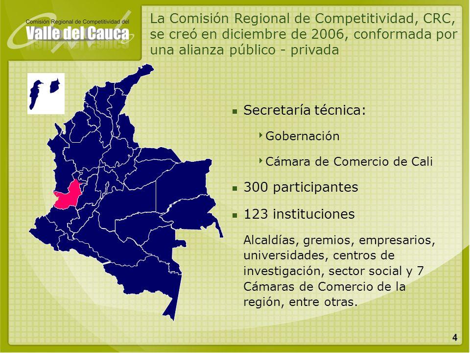 4 Secretaría técnica: Gobernación Cámara de Comercio de Cali 300 participantes 123 instituciones Alcaldías, gremios, empresarios, universidades, centr