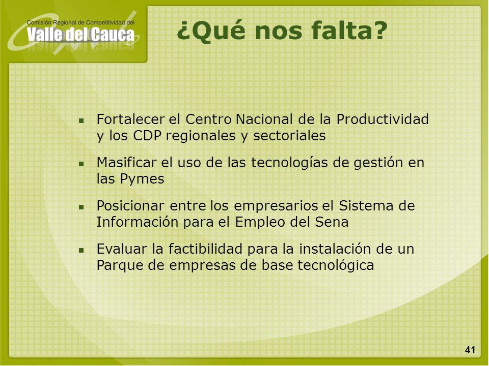 41 Fortalecer el Centro Nacional de la Productividad y los CDP regionales y sectoriales Masificar el uso de las tecnologías de gestión en las Pymes Po