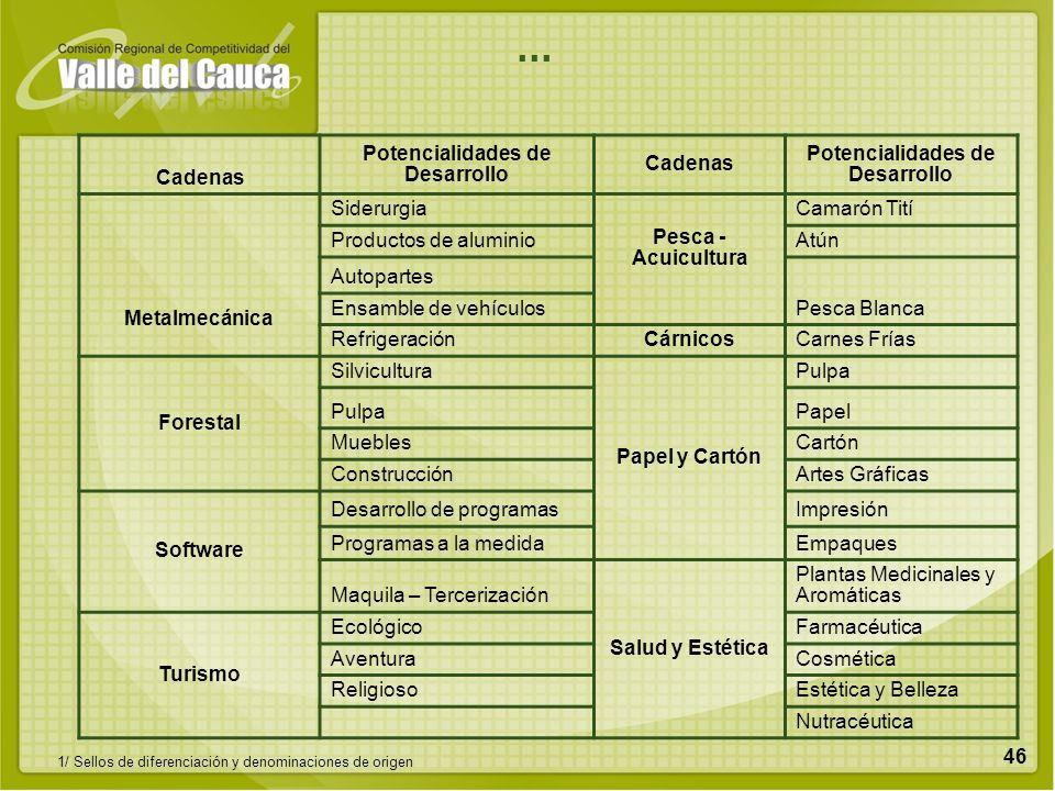 46 Cadenas Potencialidades de Desarrollo Cadenas Potencialidades de Desarrollo Metalmecánica Siderurgia Pesca - Acuicultura Camarón Tití Productos de