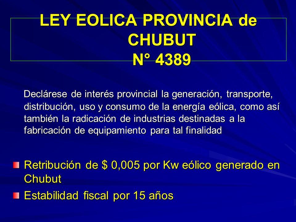 LEY EOLICA PROVINCIA de CHUBUT N° 4389 Declárese de interés provincial la generación, transporte, distribución, uso y consumo de la energía eólica, co