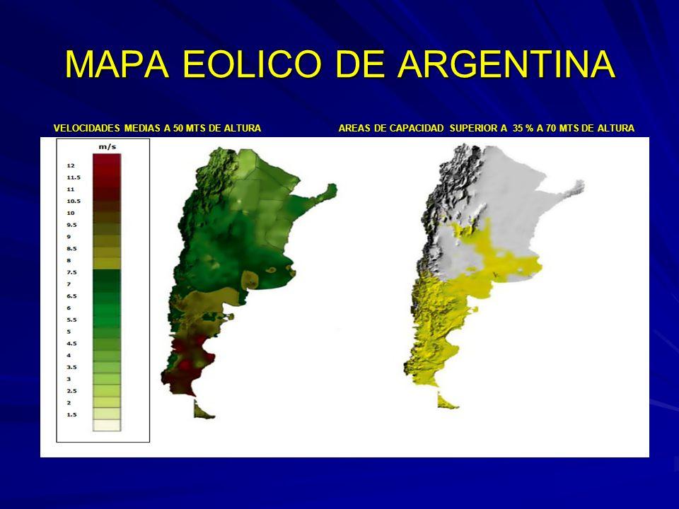 MAPA EOLICO DE ARGENTINA VELOCIDADES MEDIAS A 50 MTS DE ALTURA AREAS DE CAPACIDAD SUPERIOR A 35 % A 70 MTS DE ALTURA VELOCIDADES MEDIAS A 50 MTS DE AL