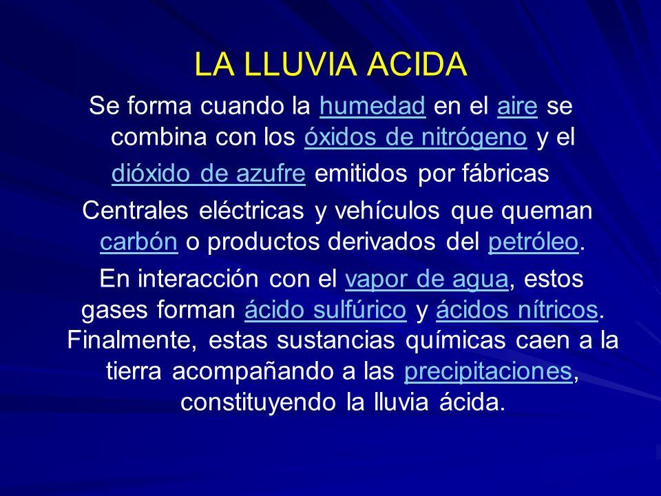 LA LLUVIA ACIDA Se forma cuando la humedad en el aire se combina con los óxidos de nitrógeno y elhumedadaireóxidos de nitrógeno dióxido de azufredióxi