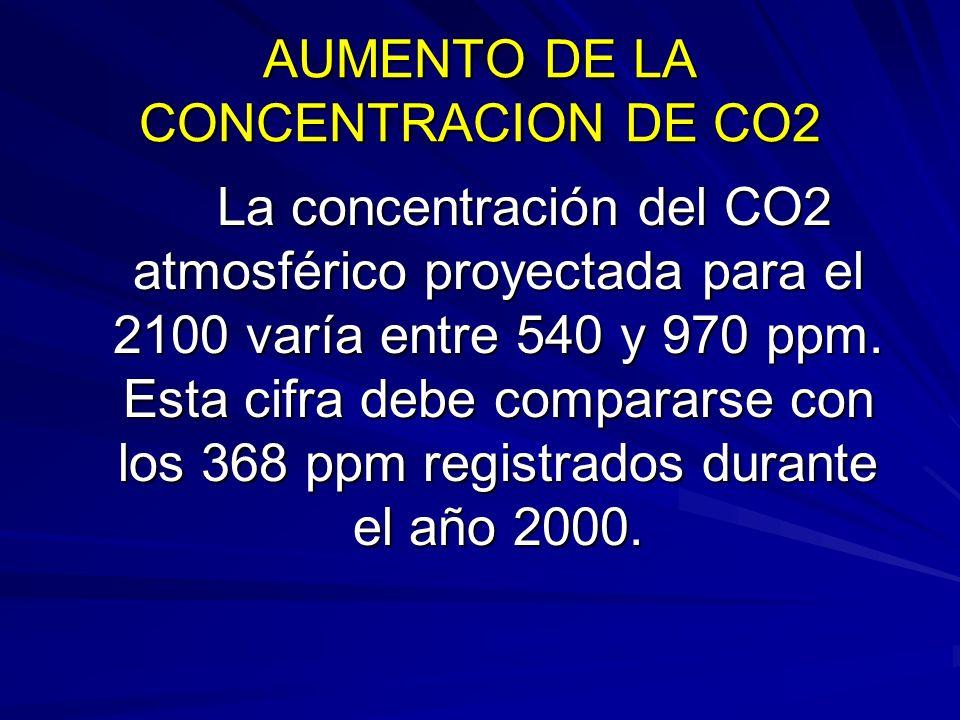 AUMENTO DE LA CONCENTRACION DE CO2 La concentración del CO2 atmosférico proyectada para el 2100 varía entre 540 y 970 ppm. Esta cifra debe compararse