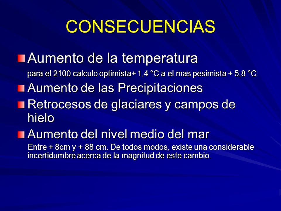 CONSECUENCIAS Aumento de la temperatura para el 2100 calculo optimista+ 1,4 °C a el mas pesimista + 5,8 °C para el 2100 calculo optimista+ 1,4 °C a el