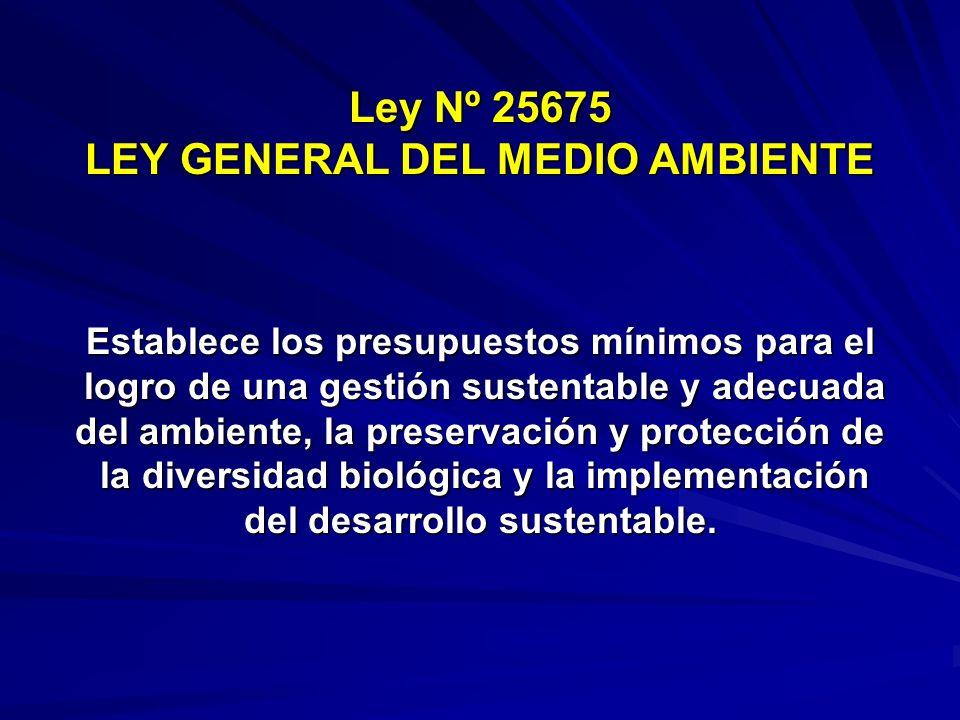 Ley Nº 25675 LEY GENERAL DEL MEDIO AMBIENTE Establece los presupuestos mínimos para el logro de una gestión sustentable y adecuada logro de una gestió
