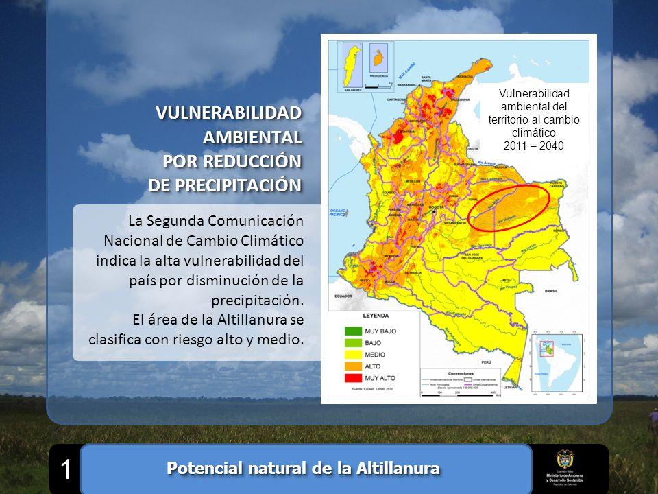 1 La Segunda Comunicación Nacional de Cambio Climático indica la alta vulnerabilidad del país por disminución de la precipitación. El área de la Altil