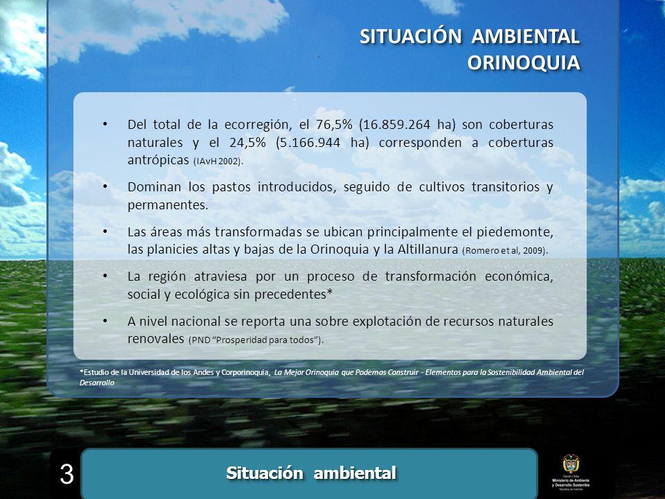 ORINOQUIA ORINOQUIA Del total de la ecorregión, el 76,5% (16.859.264 ha) son coberturas naturales y el 24,5% (5.166.944 ha) corresponden a coberturas