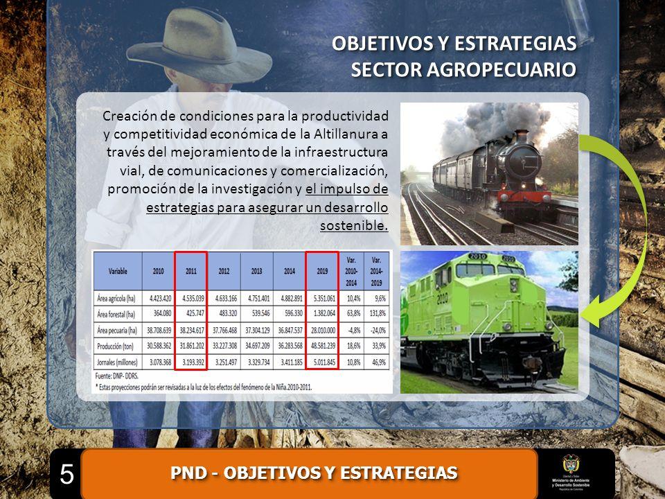 OBJETIVOS Y ESTRATEGIAS SECTOR AGROPECUARIO OBJETIVOS Y ESTRATEGIAS SECTOR AGROPECUARIO Creación de condiciones para la productividad y competitividad