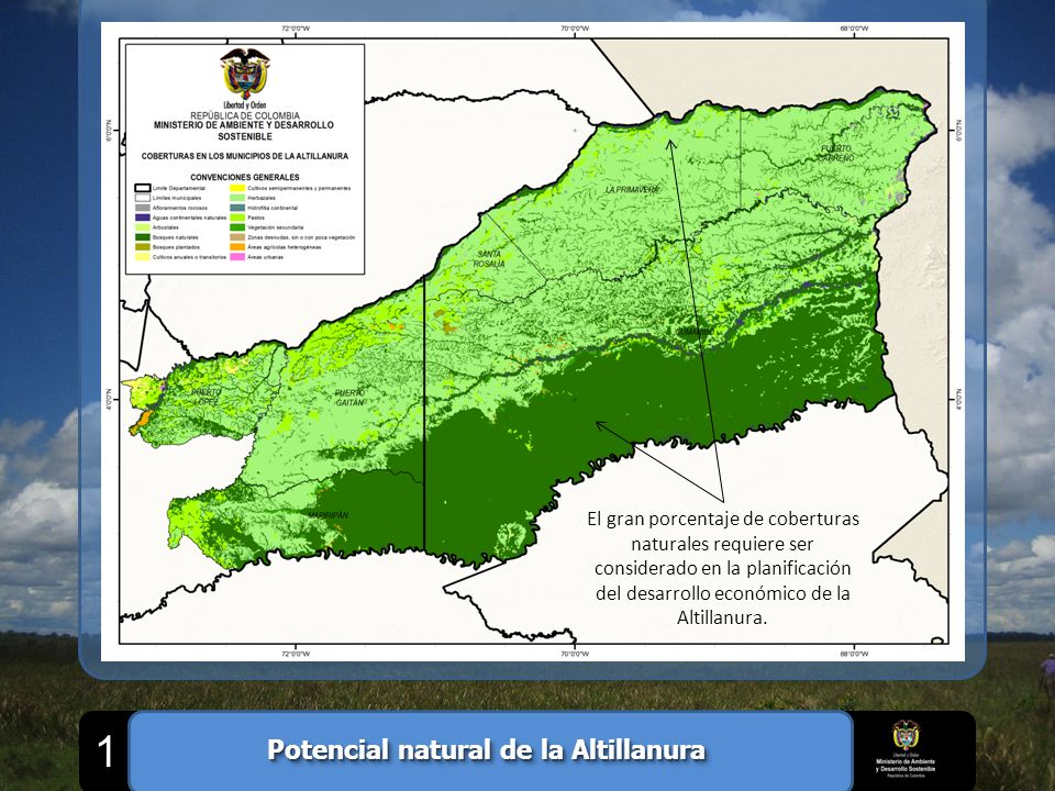 El gran porcentaje de coberturas naturales requiere ser considerado en la planificación del desarrollo económico de la Altillanura. Potencial natural