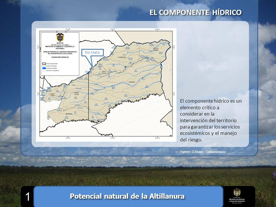 EL COMPONENTE HÍDRICO Fuente: U.Andes - Corporinoquia Río Meta El componente hídrico es un elemento crítico a considerar en la intervención del territ
