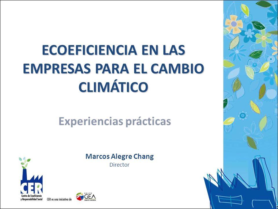 ECOEFICIENCIA EN LAS EMPRESAS PARA EL CAMBIO CLIMÁTICO Experiencias prácticas Marcos Alegre Chang Director