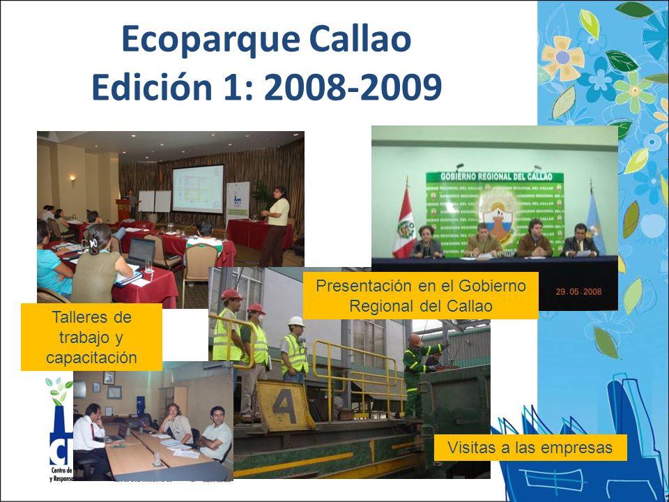 Visitas a las empresas Presentación en el Gobierno Regional del Callao Talleres de trabajo y capacitación