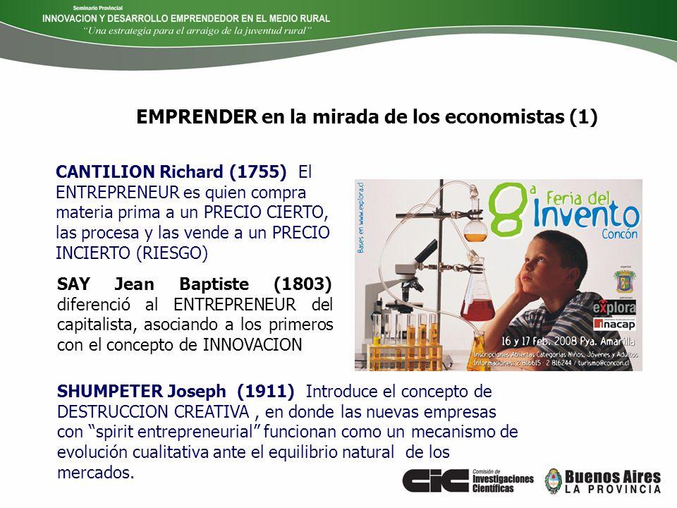 EMPRENDER en la mirada de los economistas (1) SAY Jean Baptiste (1803) diferenció al ENTREPRENEUR del capitalista, asociando a los primeros con el con