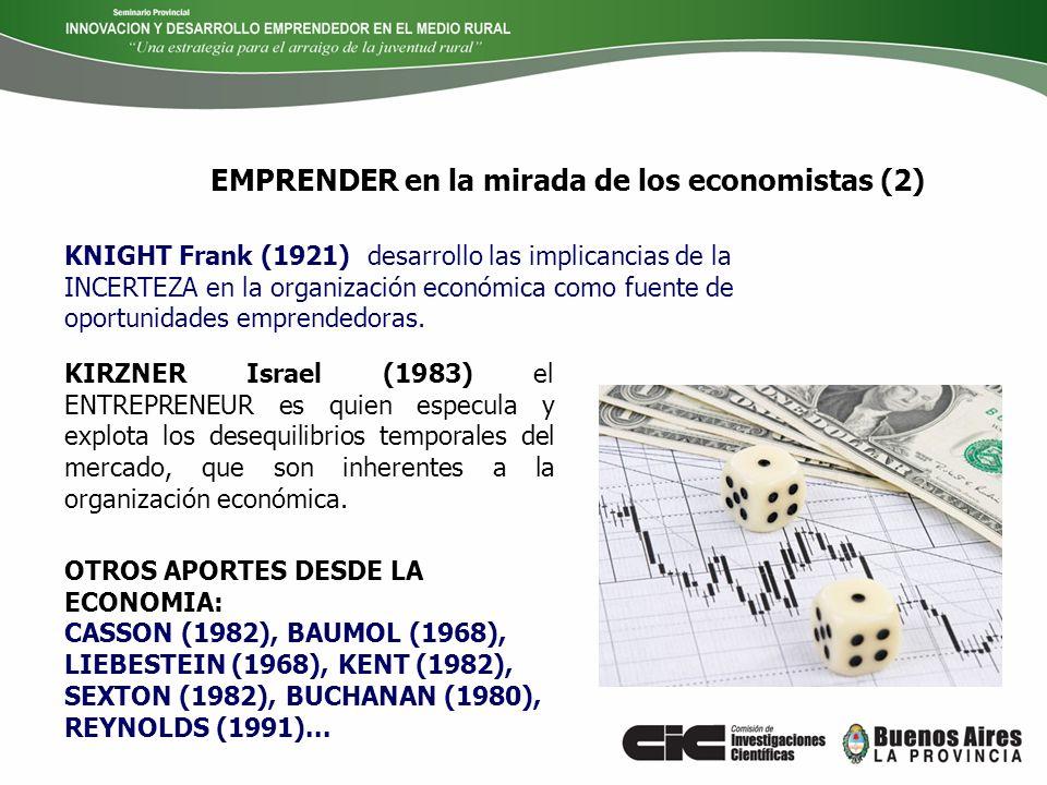 EMPRENDER en la mirada de los economistas (2) KIRZNER Israel (1983) el ENTREPRENEUR es quien especula y explota los desequilibrios temporales del merc