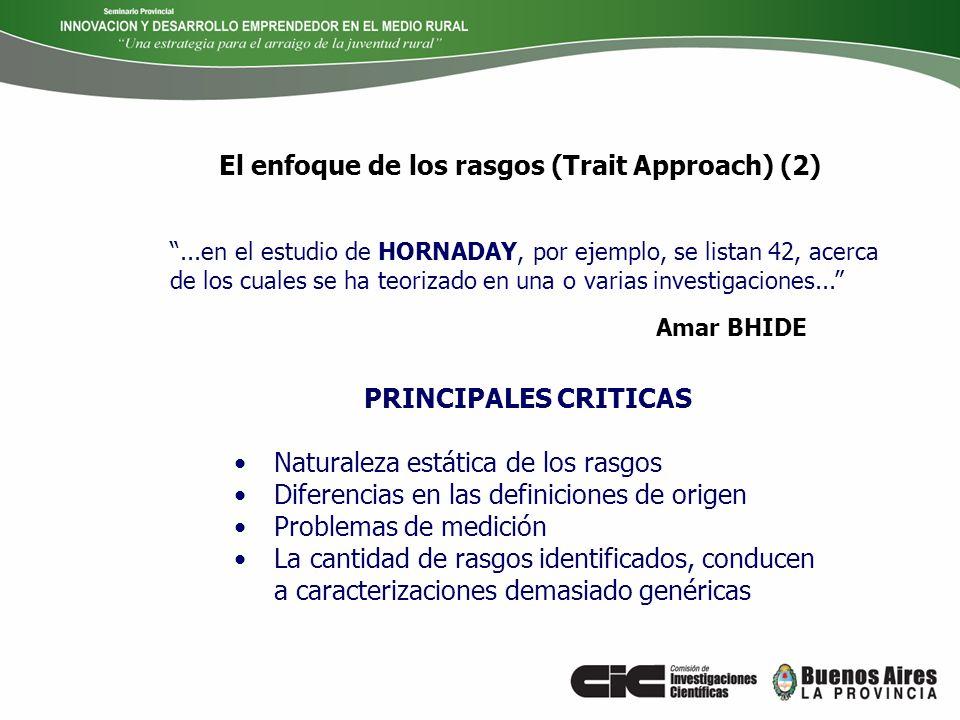 PRINCIPALES CRITICAS Naturaleza estática de los rasgos Diferencias en las definiciones de origen Problemas de medición La cantidad de rasgos identific