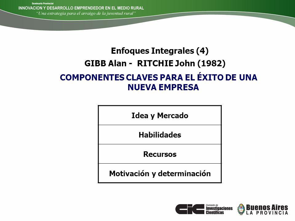 COMPONENTES CLAVES PARA EL ÉXITO DE UNA NUEVA EMPRESA GIBB Alan - RITCHIE John (1982) Idea y Mercado Habilidades Recursos Motivación y determinación E
