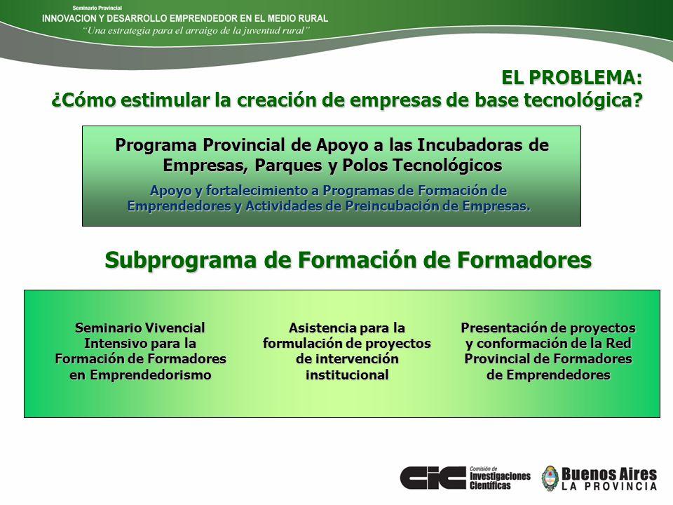 Programa Provincial de Apoyo a las Incubadoras de Empresas, Parques y Polos Tecnológicos Apoyo y fortalecimiento a Programas de Formación de Emprended