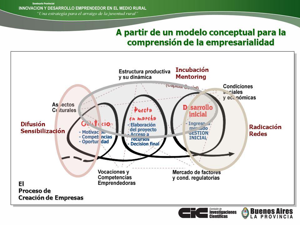 Radicación Redes El Proceso de Creación de Empresas Difusión Sensibilización Incubación Mentoring A partir de un modelo conceptual para la comprensión