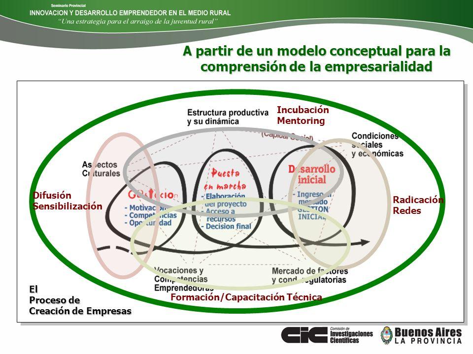 Incubación Mentoring Formación/Capacitación Técnica Difusión Sensibilización El Proceso de Creación de Empresas Radicación Redes A partir de un modelo
