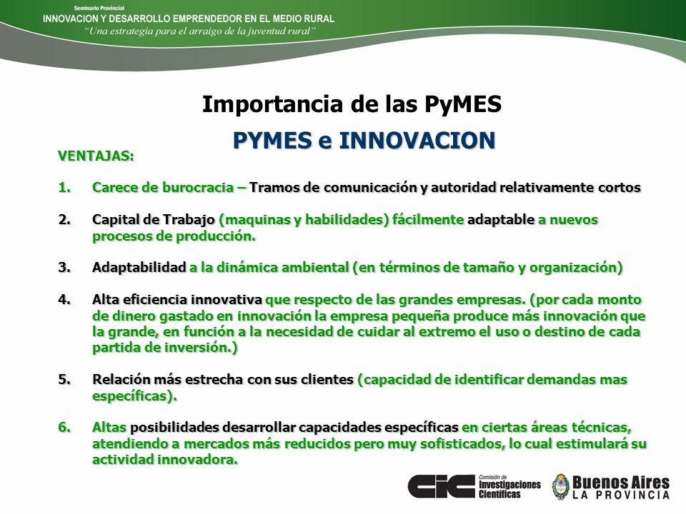 Importancia de las PyMES VENTAJAS: 1.Carece de burocracia – Tramos de comunicación y autoridad relativamente cortos 2.Capital de Trabajo (maquinas y h