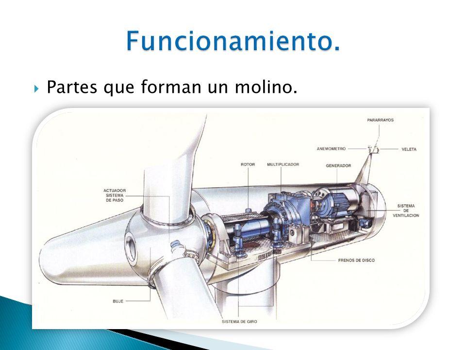 Buje: El buje del rotor está acoplado al eje de baja velocidad del molino.
