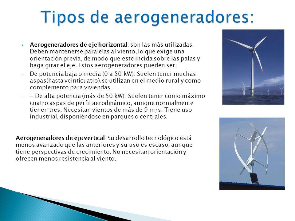 Aerogeneradores de eje horizontal: son las más utilizadas. Deben mantenerse paralelas al viento, lo que exige una orientación previa, de modo que este