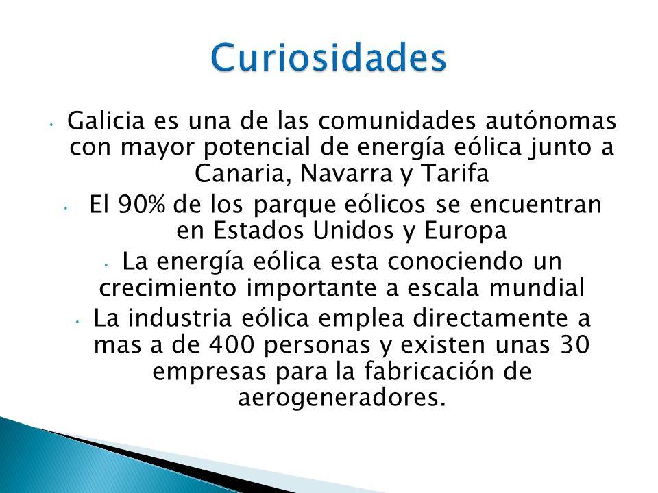Galicia es una de las comunidades autónomas con mayor potencial de energía eólica junto a Canaria, Navarra y Tarifa El 90% de los parque eólicos se en