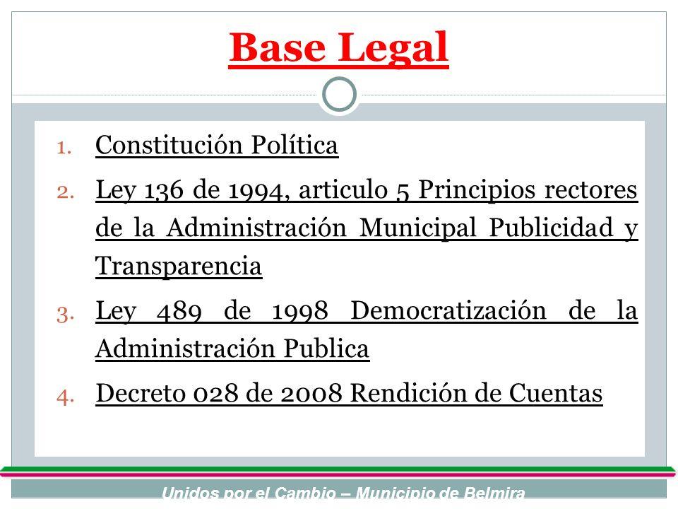 Base Legal 1. Constitución Política 2. Ley 136 de 1994, articulo 5 Principios rectores de la Administración Municipal Publicidad y Transparencia 3. Le