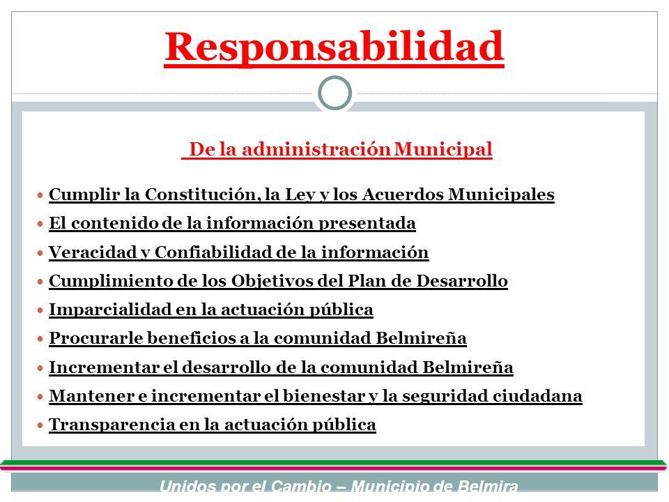 Responsabilidad De la administración Municipal Cumplir la Constitución, la Ley y los Acuerdos Municipales El contenido de la información presentada Ve