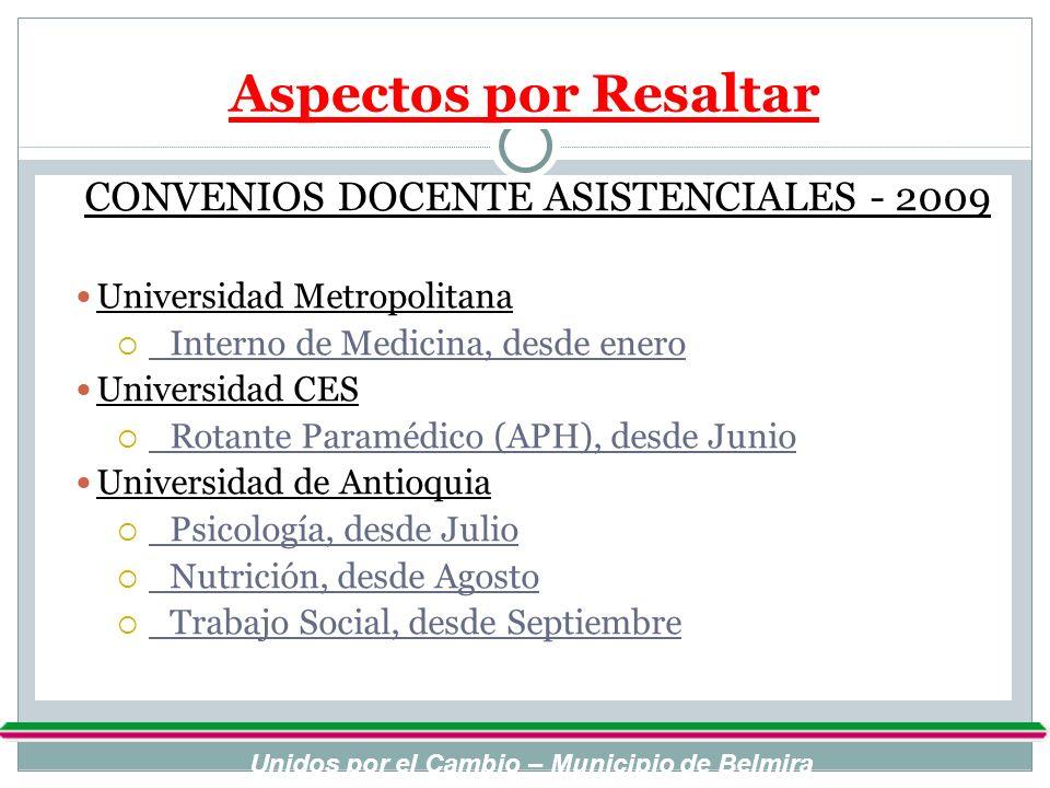 Aspectos por Resaltar CONVENIOS DOCENTE ASISTENCIALES - 2009 Universidad Metropolitana Interno de Medicina, desde enero Universidad CES Rotante Paramé