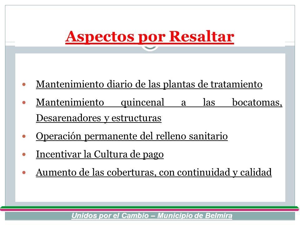 Aspectos por Resaltar Mantenimiento diario de las plantas de tratamiento Mantenimiento quincenal a las bocatomas, Desarenadores y estructuras Operació
