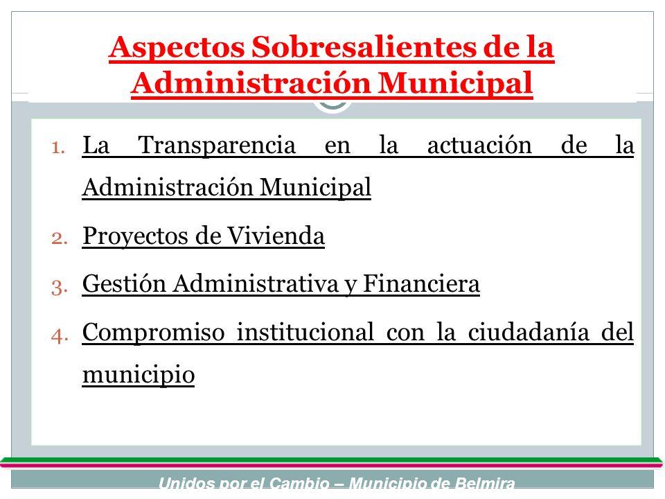 Aspectos Sobresalientes de la Administración Municipal 1. La Transparencia en la actuación de la Administración Municipal 2. Proyectos de Vivienda 3.