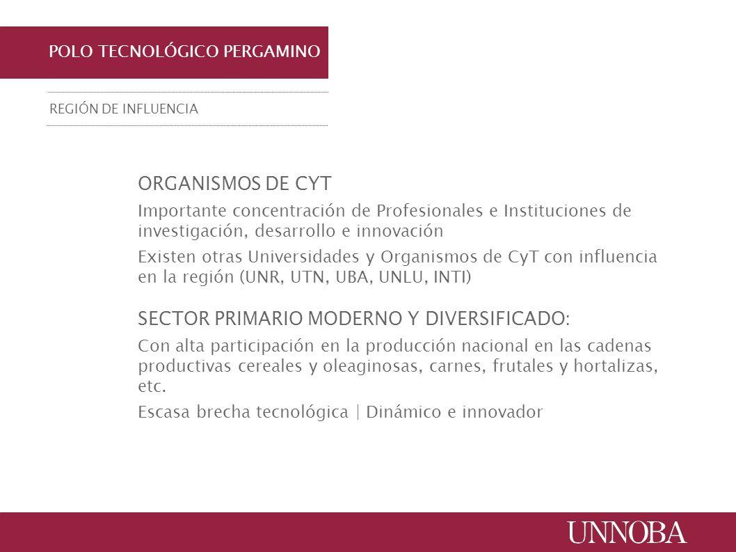 ORGANISMOS DE CYT Importante concentración de Profesionales e Instituciones de investigación, desarrollo e innovación Existen otras Universidades y Or