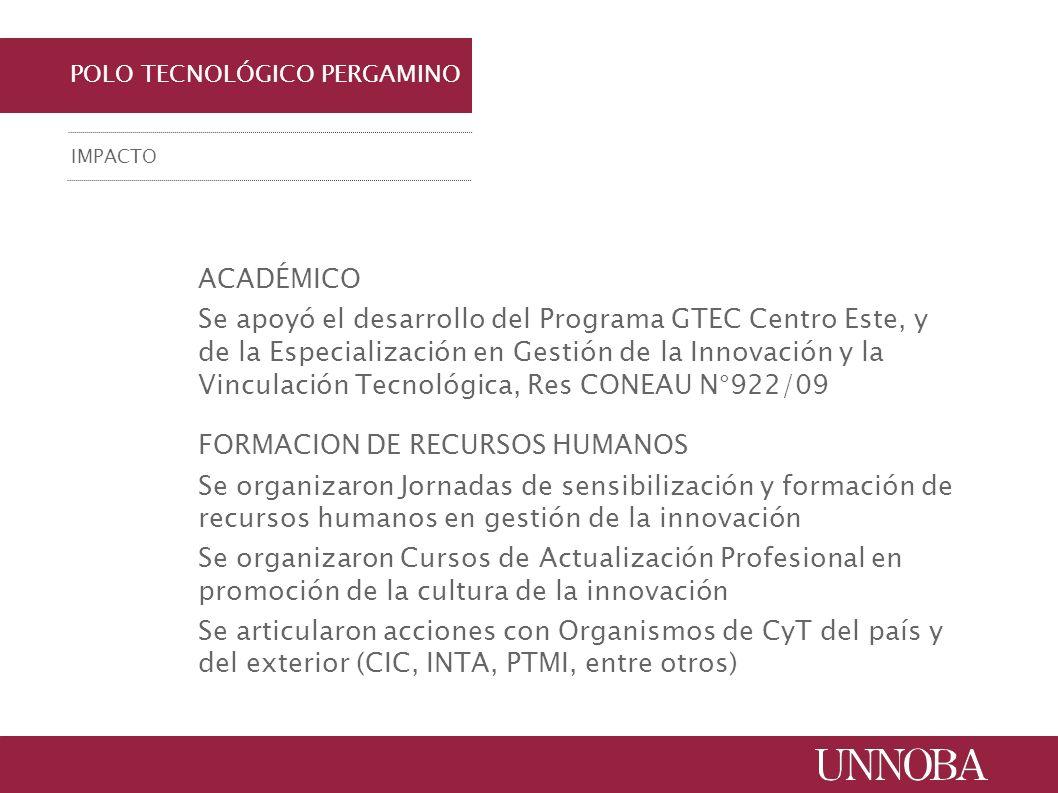POLO TECNOLÓGICO PERGAMINO IMPACTO ACADÉMICO Se apoyó el desarrollo del Programa GTEC Centro Este, y de la Especialización en Gestión de la Innovación