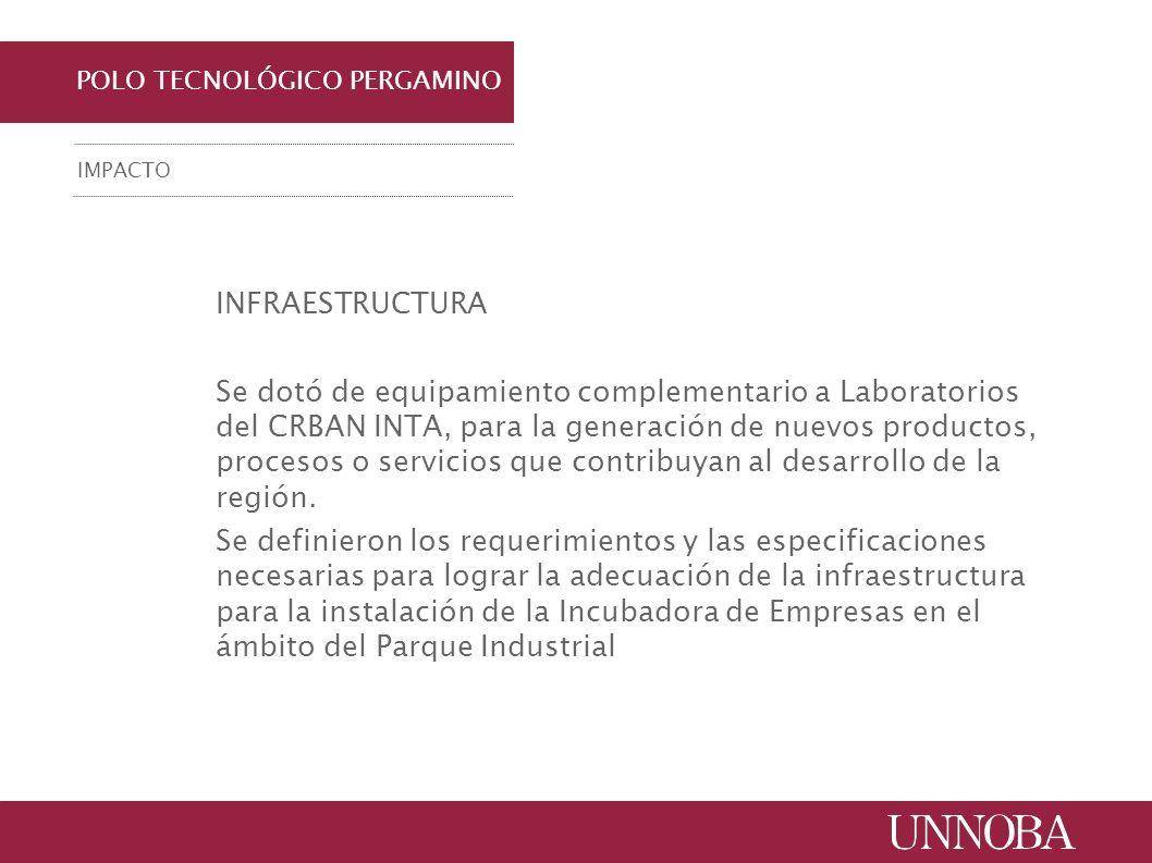 POLO TECNOLÓGICO PERGAMINO IMPACTO INFRAESTRUCTURA Se dotó de equipamiento complementario a Laboratorios del CRBAN INTA, para la generación de nuevos