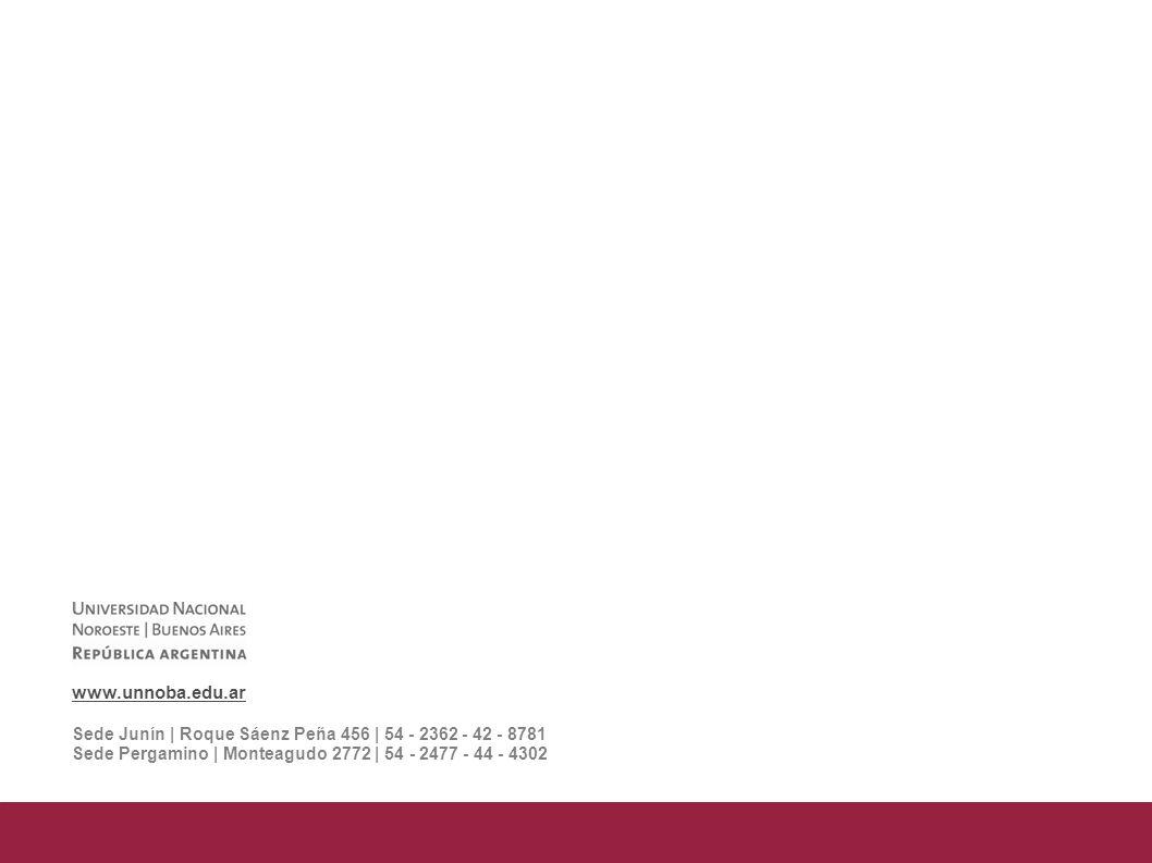 www.unnoba.edu.ar Sede Junín | Roque Sáenz Peña 456 | 54 - 2362 - 42 - 8781 Sede Pergamino | Monteagudo 2772 | 54 - 2477 - 44 - 4302