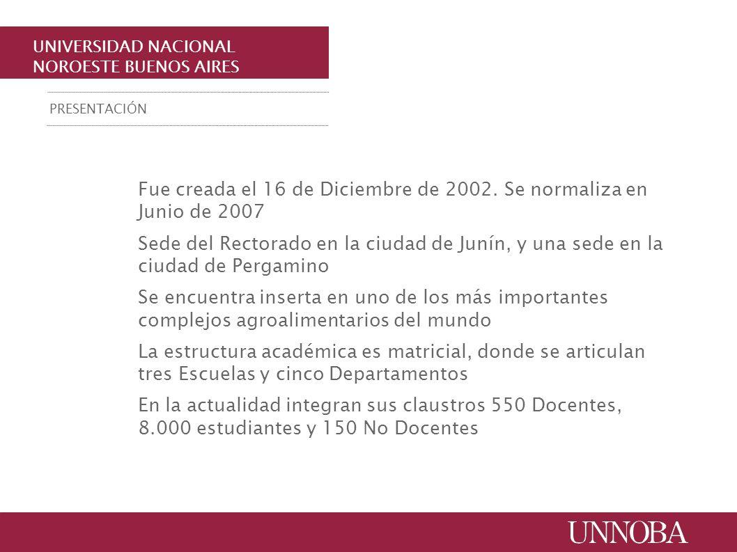 UNIVERSIDAD NACIONAL NOROESTE BUENOS AIRES Fue creada el 16 de Diciembre de 2002. Se normaliza en Junio de 2007 Sede del Rectorado en la ciudad de Jun