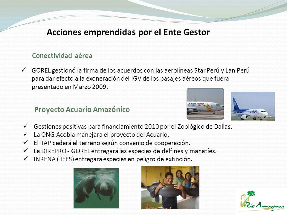 GOREL gestionó la firma de los acuerdos con las aerolíneas Star Perú y Lan Perú para dar efecto a la exoneración del IGV de los pasajes aéreos que fue