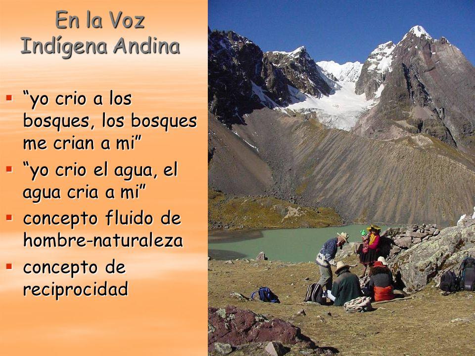 En la Voz Indígena Andina yo crio a los bosques, los bosques me crian a mi yo crio a los bosques, los bosques me crian a mi yo crio el agua, el agua c