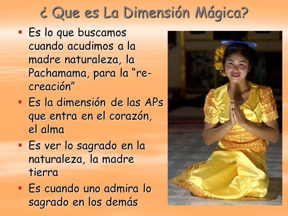¿ Que es La Dimensión Mágica? Es lo que buscamos cuando acudimos a la madre naturaleza, la Pachamama, para la re- creación Es lo que buscamos cuando a