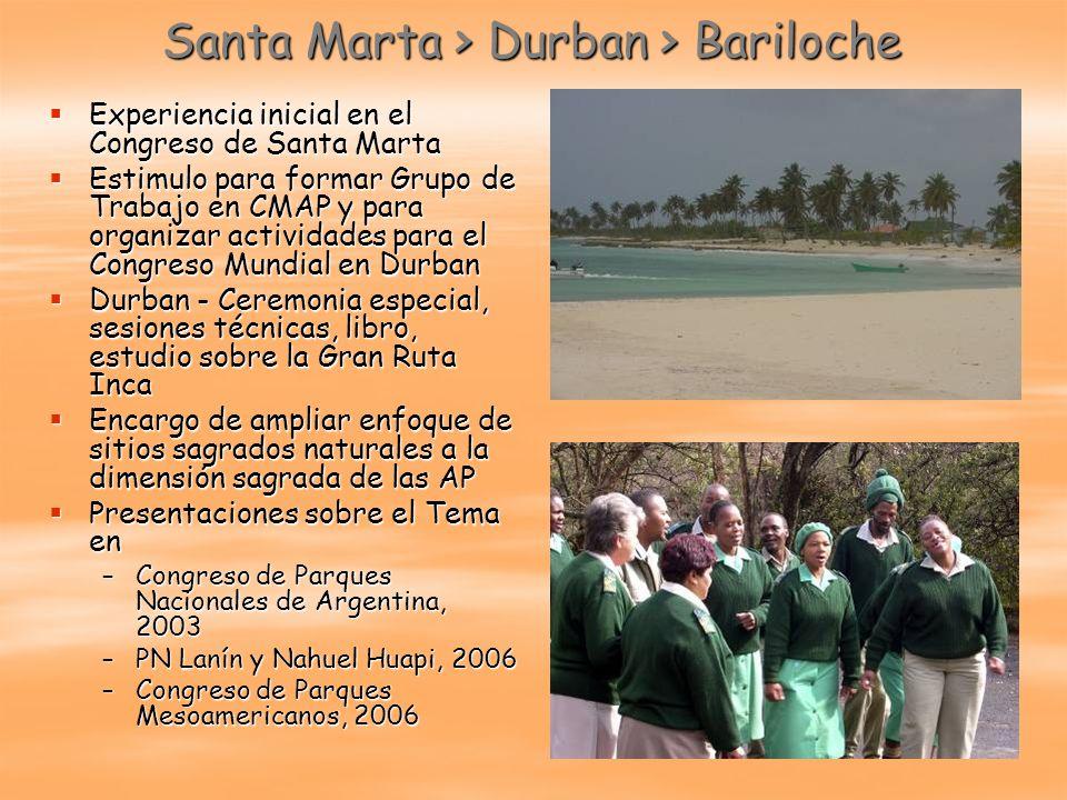 Santa Marta > Durban > Bariloche Experiencia inicial en el Congreso de Santa Marta Experiencia inicial en el Congreso de Santa Marta Estimulo para for