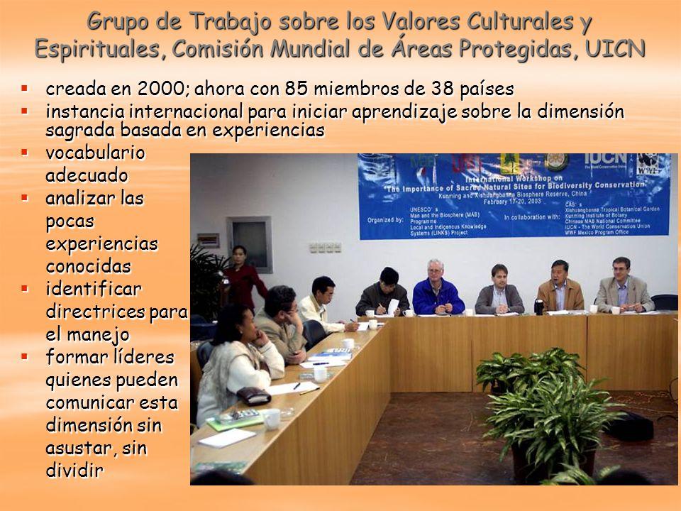 Grupo de Trabajo sobre los Valores Culturales y Espirituales, Comisión Mundial de Áreas Protegidas, UICN creada en 2000; ahora con 85 miembros de 38 p