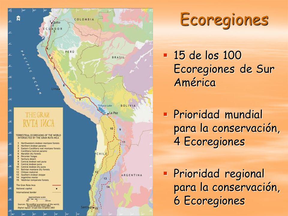 Ecoregiones 15 de los 100 Ecoregiones de Sur América 15 de los 100 Ecoregiones de Sur América Prioridad mundial para la conservación, 4 Ecoregiones Pr