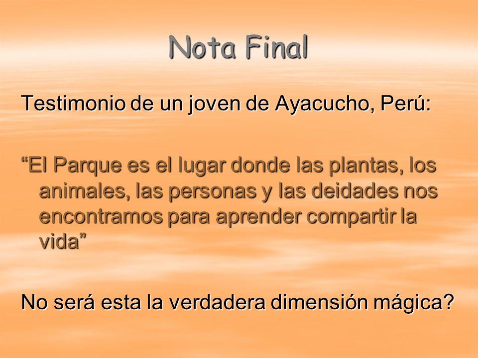 Nota Final Testimonio de un joven de Ayacucho, Perú: El Parque es el lugar donde las plantas, los animales, las personas y las deidades nos encontramo