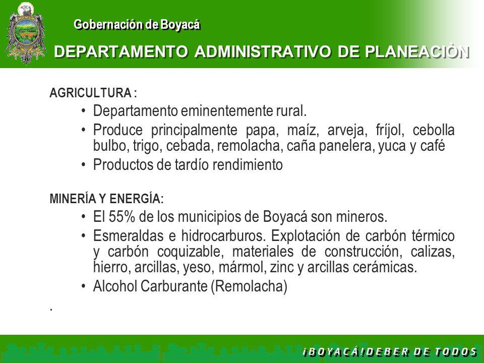 Gobernación de Boyacá DEPARTAMENTO ADMINISTRATIVO DE PLANEACIÒN AGRICULTURA : Departamento eminentemente rural. Produce principalmente papa, maíz, arv