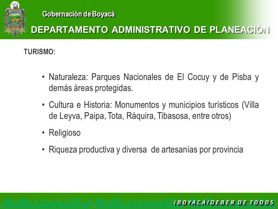 Gobernación de Boyacá DEPARTAMENTO ADMINISTRATIVO DE PLANEACIÒN TURISMO: Naturaleza: Parques Nacionales de El Cocuy y de Pisba y demás áreas protegida