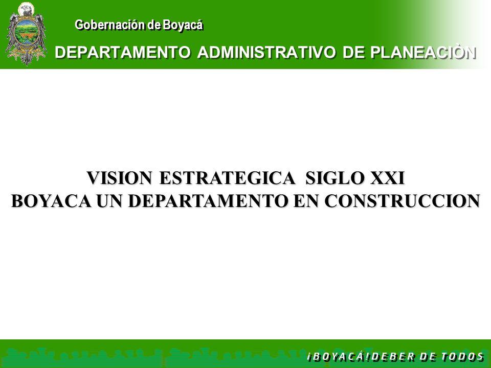 Gobernación de Boyacá DEPARTAMENTO ADMINISTRATIVO DE PLANEACIÒN VISION ESTRATEGICA SIGLO XXI BOYACA UN DEPARTAMENTO EN CONSTRUCCION