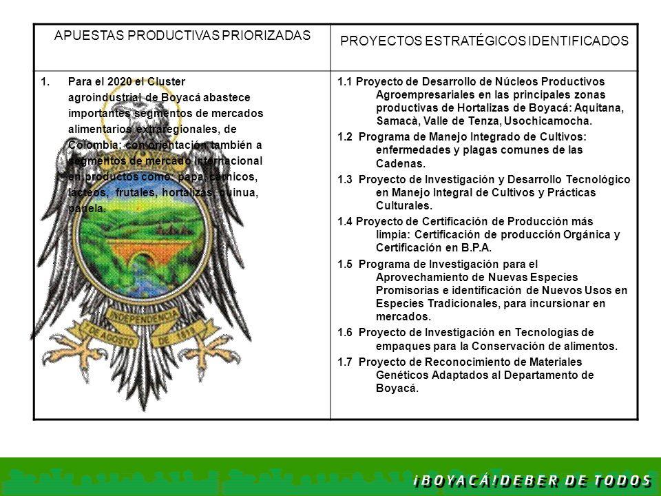 APUESTAS PRODUCTIVAS PRIORIZADAS PROYECTOS ESTRATÉGICOS IDENTIFICADOS 1. Para el 2020 el Cluster agroindustrial de Boyacá abastece importantes segment