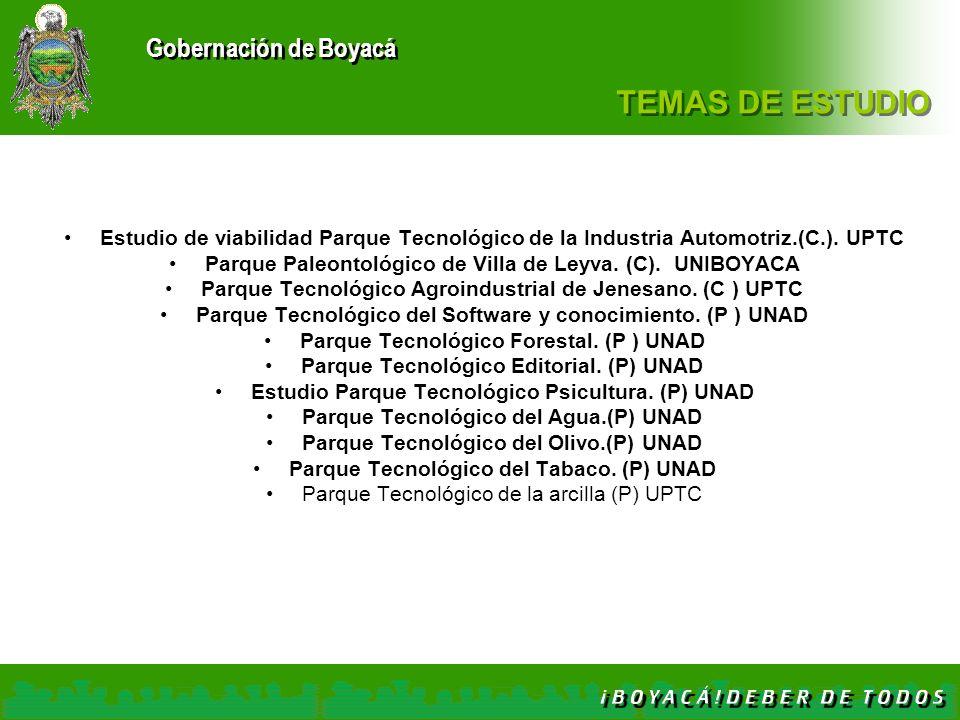 Gobernación de Boyacá TEMAS DE ESTUDIO Estudio de viabilidad Parque Tecnológico de la Industria Automotriz.(C.). UPTC Parque Paleontológico de Villa d